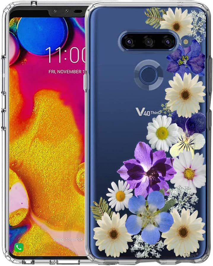 LG V40 ThinQ Case, Unov Clear with Design Soft TPU Shock Absorption Slim Embossed Floral Pattern Protective Back Cover(Flower Blossom)
