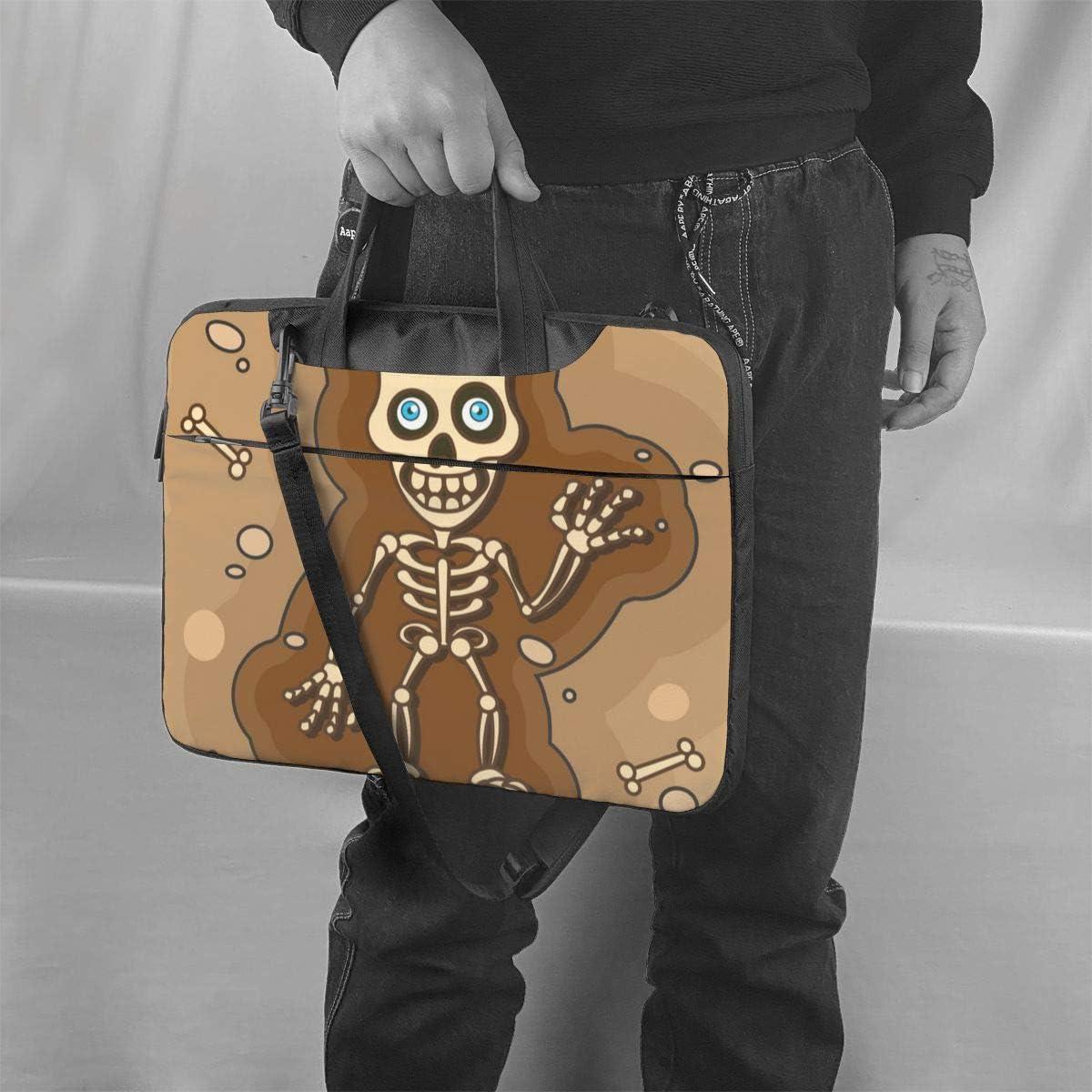Skeleton Clown Laptop Case,Fashion MacBook Shoulder Bag,Compatible Briefcase Sleeve with Removable Belt Versatile Canvas Notebook Sleeve with 2 Outer Pocket 15.6 Inch
