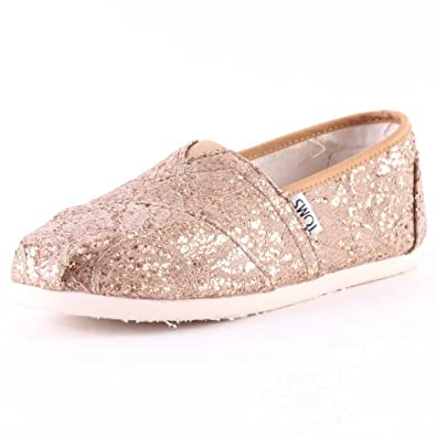 ac5087c4362 TOMS Classics Rose Gold Lace Glitz Womens Espadrilles  Amazon.co.uk  Shoes    Bags