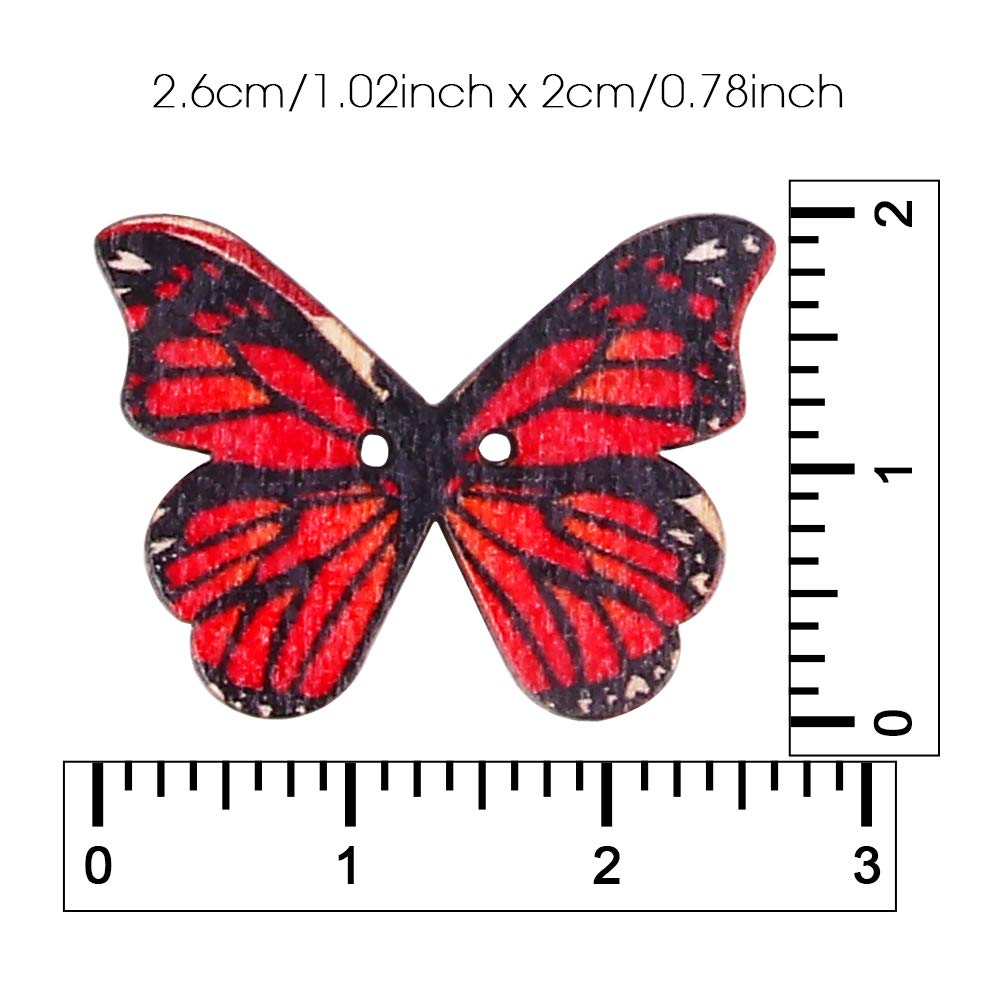 100Pcs Wooden Butterfly Buttons craftsman168 Multicoloured Butterfly Shaped Buttons