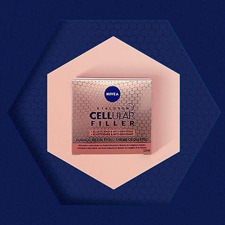 NIVEA Hyaluron Cellular Filler + Elasticidad & Antigravedad Cuidado de Día FP30 (1 x 50 ml), crema de día con ácido hialurónico, crema reafirmante, crema antiedad