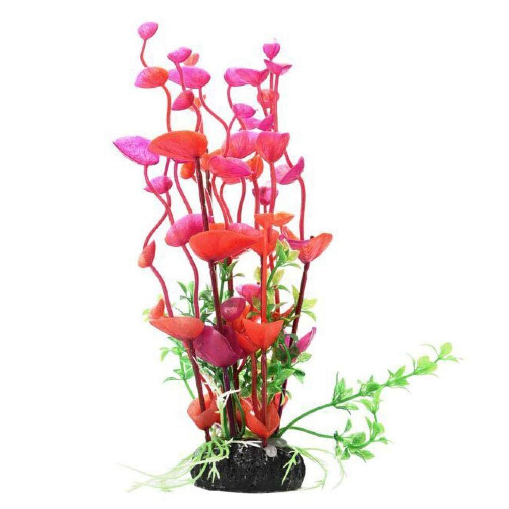 Bookear Artificial Aquatic Plants Aquarium Plants Plastic Fish Tank Decorations 5.9 inch One Piece (Red)