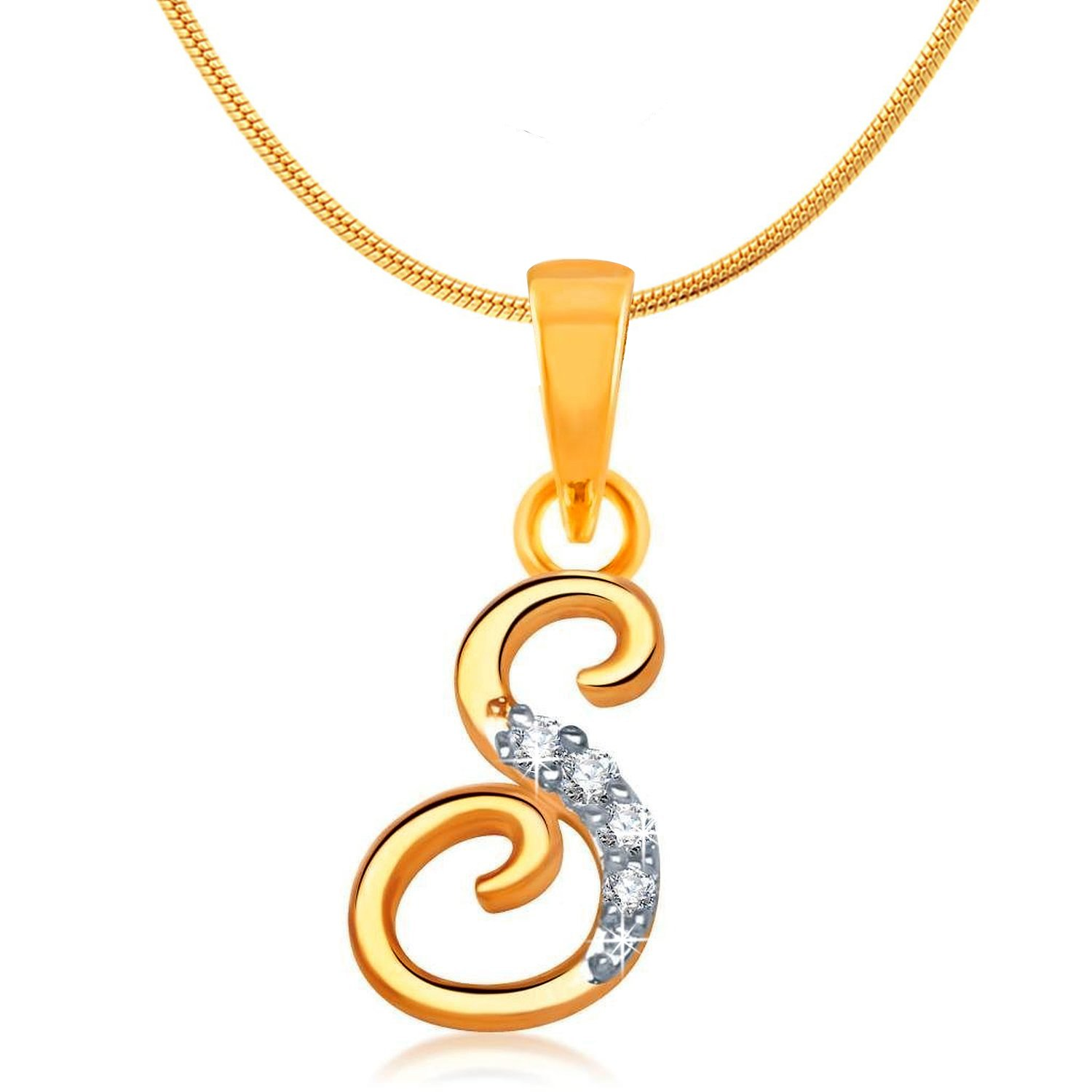 jewelry jewellery rhodium inches bling letter s pendant cz alphabet plated co dp cursive necklace uk amazon