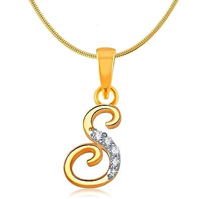mahi initial letter s alphabet gold plated pendant for men and women