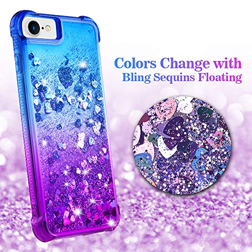 Ruky iPhone 6 6S 7 8 Case, iPhone SE 2020 Case, iPhone 6s Glitter Case, Gradient Quicksand Series Bling Flowing Liquid…