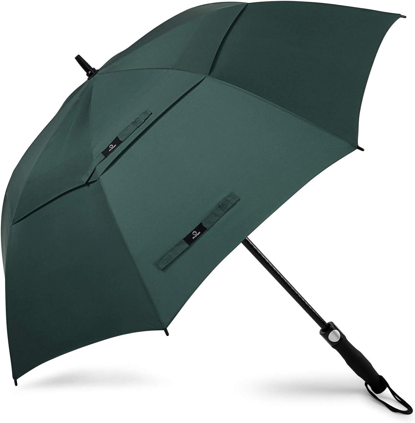 Prospo Paraguas de golf de 62/68 pulgadas, grande, resistente, automático, resistente al viento, doble toldo de gran tamaño, con ventilación, lluvia y nieve