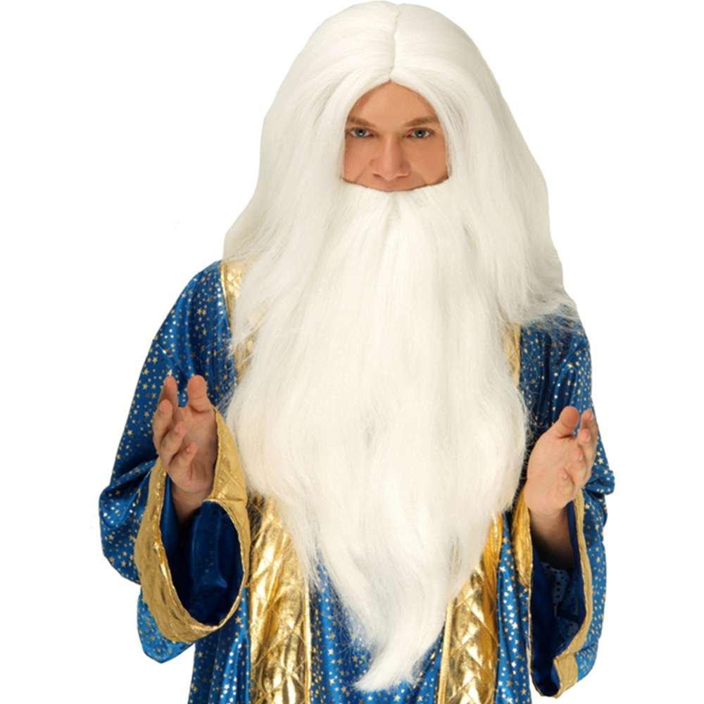 Amazon.com: Asistente de color blanco peluca y barba: Clothing