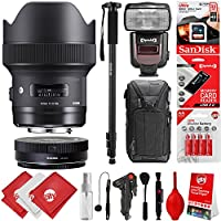 Sigma 14mm f1.8 ART DG HSM Lens for Canon EOS EF DSLR Cameras + 32GB 17PC Bundle for 80D, 77D, 70D, 60D, 60Da, 50D, 7D, 6D, 5D, 5DS, 1DS, T7i, T7s, T7, T6s, T6i, T6, T5i, T5, SL2 and SL1