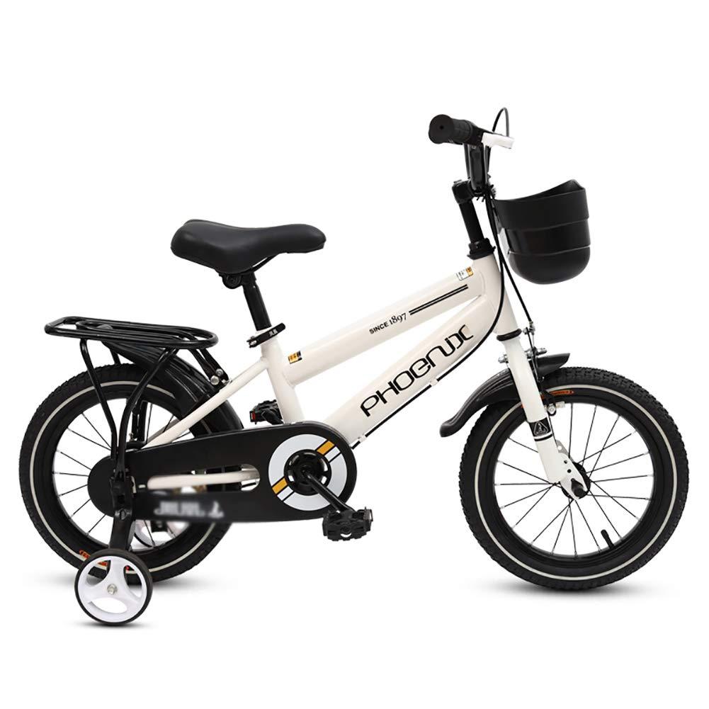 Weiß 14inches BAICHEN Kinderfahrräder Kinderfahrrad mit Trainingsrad, 12 14 16 18 Zoll Jungen und Mädchen beim Radfahren, Geeignet für Kinder von 2-10 Jahren,Weiß,14inches