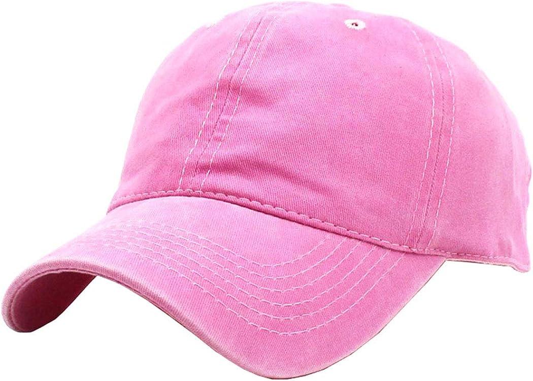 Kids Cotton Baseball Hat Solid Girls Washed Strapback Hat Adjustable Sun Hat