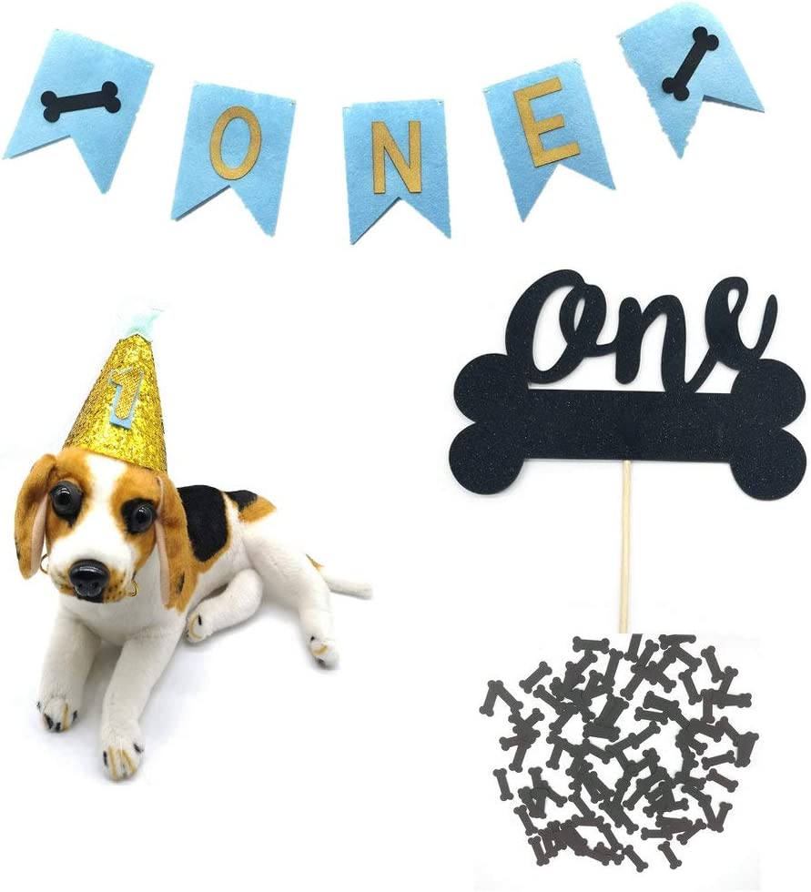 Amazon Com Hemarty Dogs Birthday Hats Head Wear Dog Print Banner Cake Topper Confetti For Pets 1st Birthday Party Decorations Supplies Pet Supplies