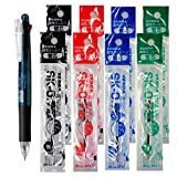 Zebra B4SA-1 Clip-on multi 0.7mm Multifunctional Pen, Black Body & 4 Color(Black/Blue/Red/Green) Refills 8 Total Value Set