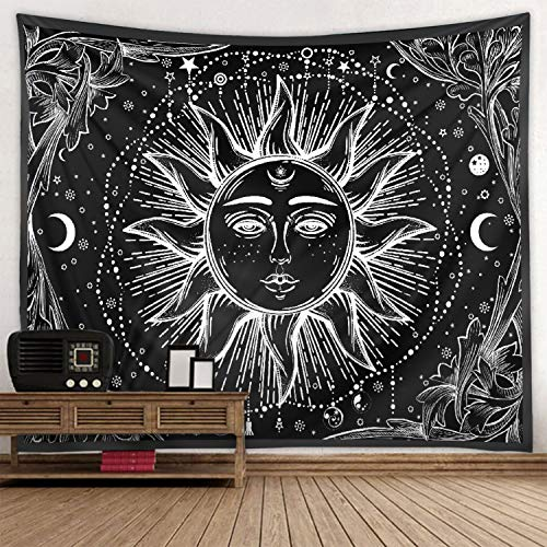 "Fendio Burning Sun and Moon Tapestry, 59.1"" x 82.7"", Black and White Retro Celestial Energy Mystic Tapestry Hippy Bohemian Wall Hanging Tapestries for Dorm Bedroom livingroom Decor"