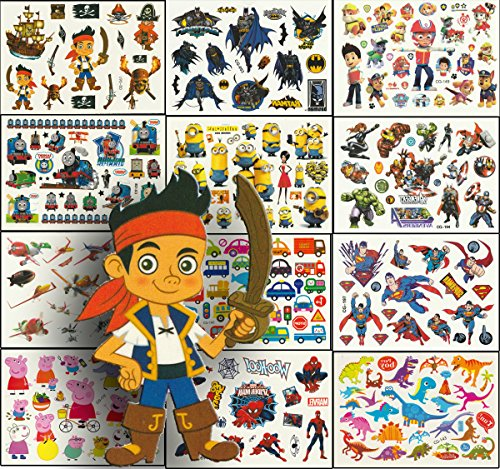Foxjoy Temporary Tattoos for Kids Premium Edition, 250 Designs, 12 Sheets, 6x4 inches (Boys) ()