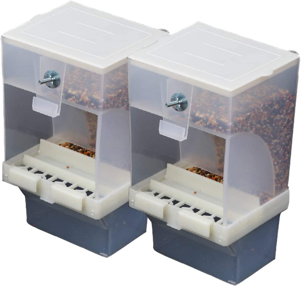 Tfwadmx Parrot Automatic Feeder No Mess Bird Feeder Cage Accessories Seed Food Container for Budgerigar Canary Cockatiel Finch Parakeet Two for A Set