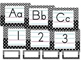 Teacher Created Resources Traditional Manuscript Alphabet Bulletin Board, Black/White Chevrons and Dots (5573)