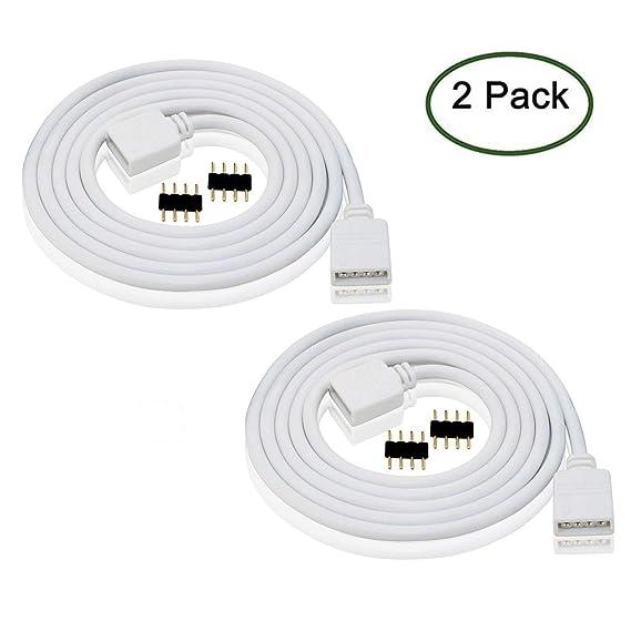 amazon com led rgb extension cable 8ft white 2pcs 4pin rgb led rh amazon com