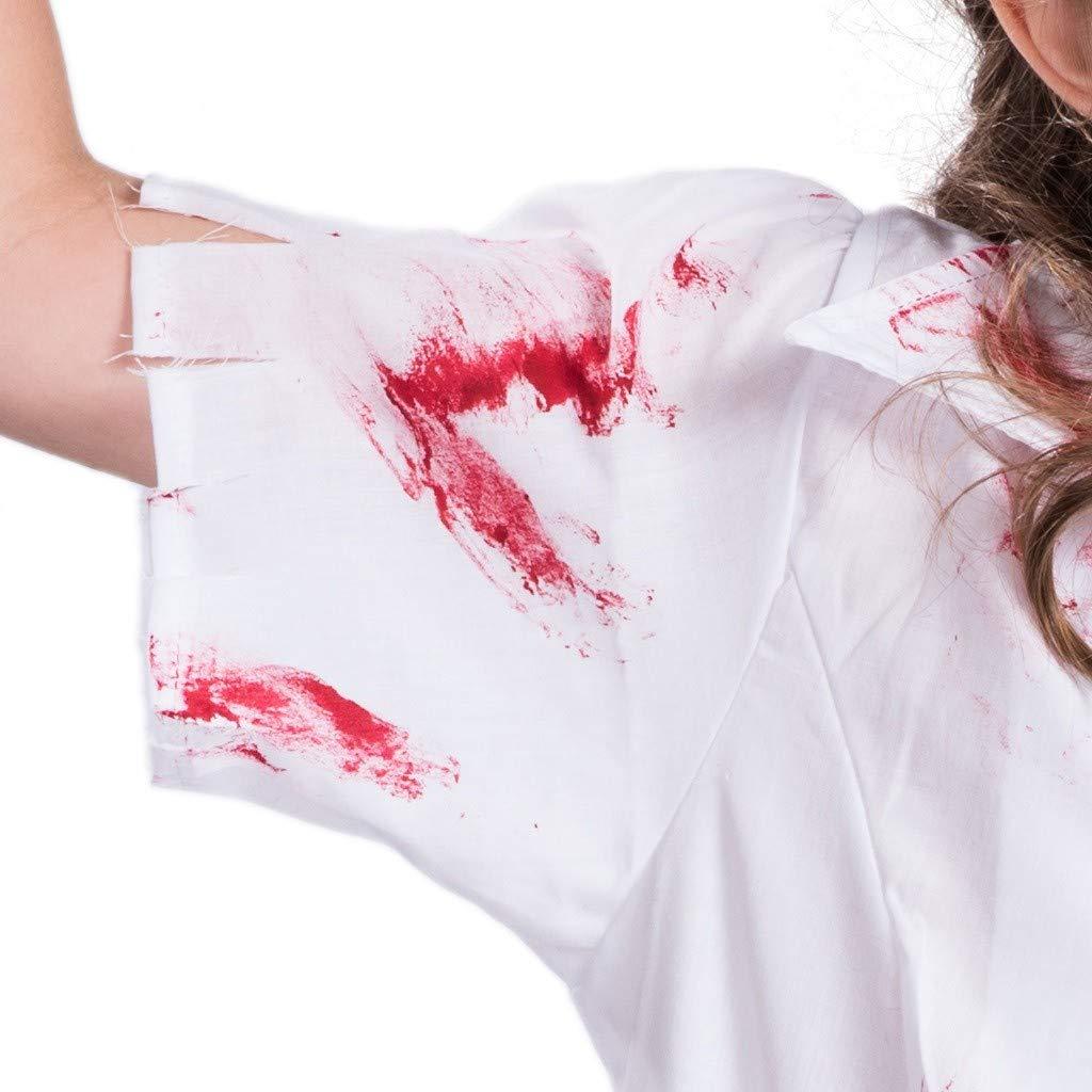 SPORTTIN Bloody Halloween Costumes Zip Up Womens Nurse Dress Prom Cosplay Props