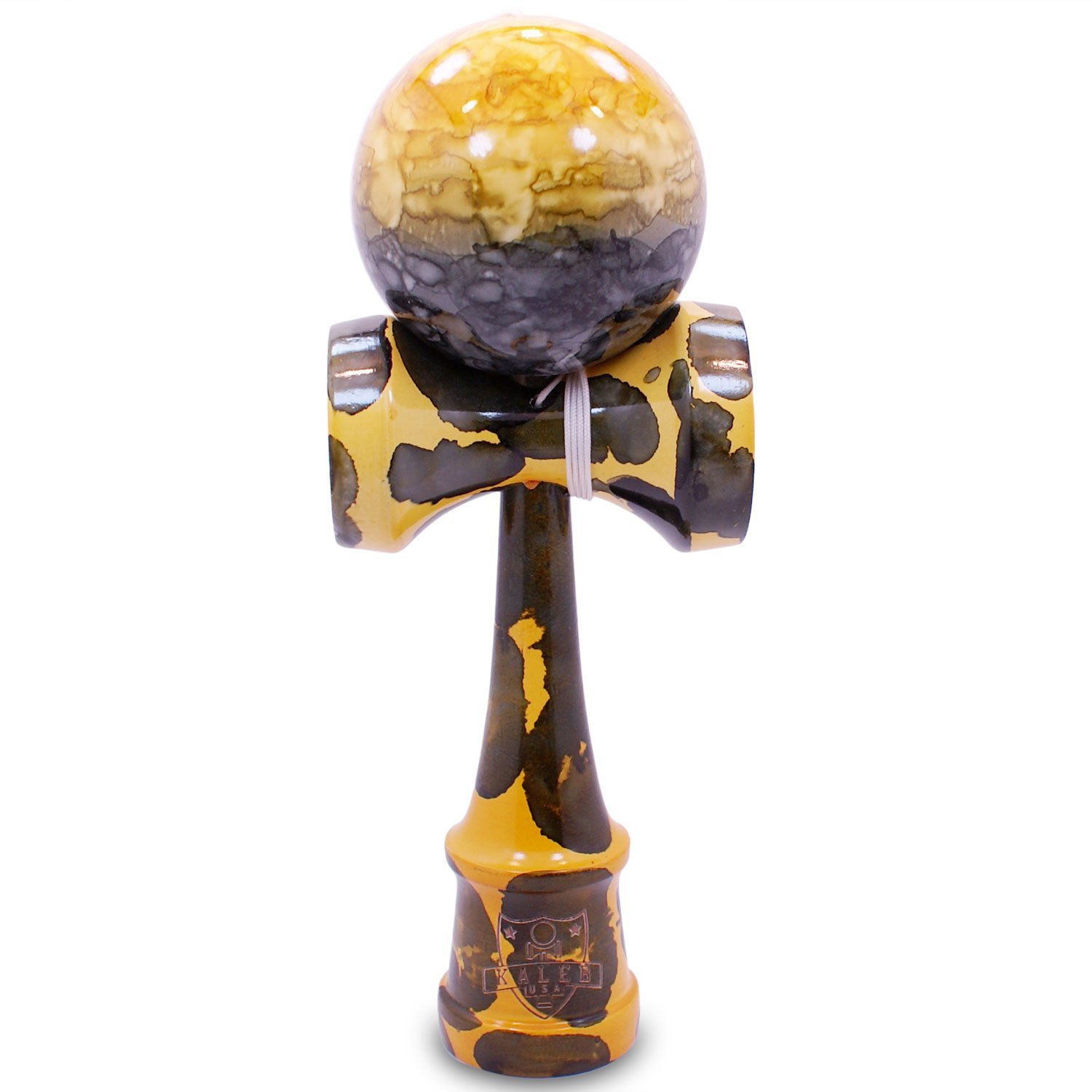 Kaleb USA Full Yellow Fever Marble Kendama And Extra String 6103270
