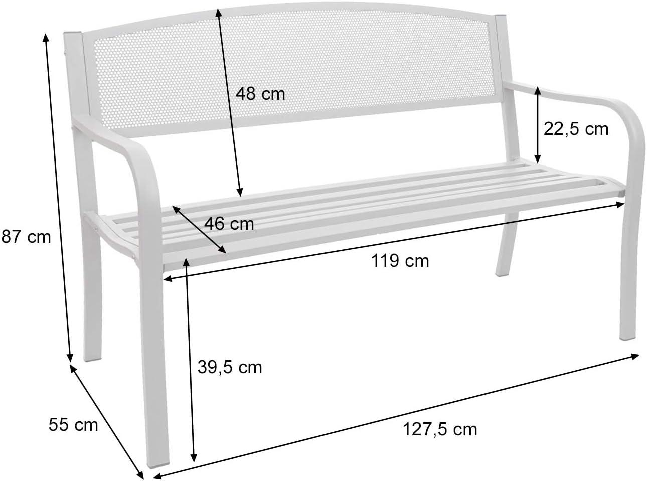 Mendler Panca panchina 2 posti da Giardino HWC-F52 Acciaio Verniciato Grigio