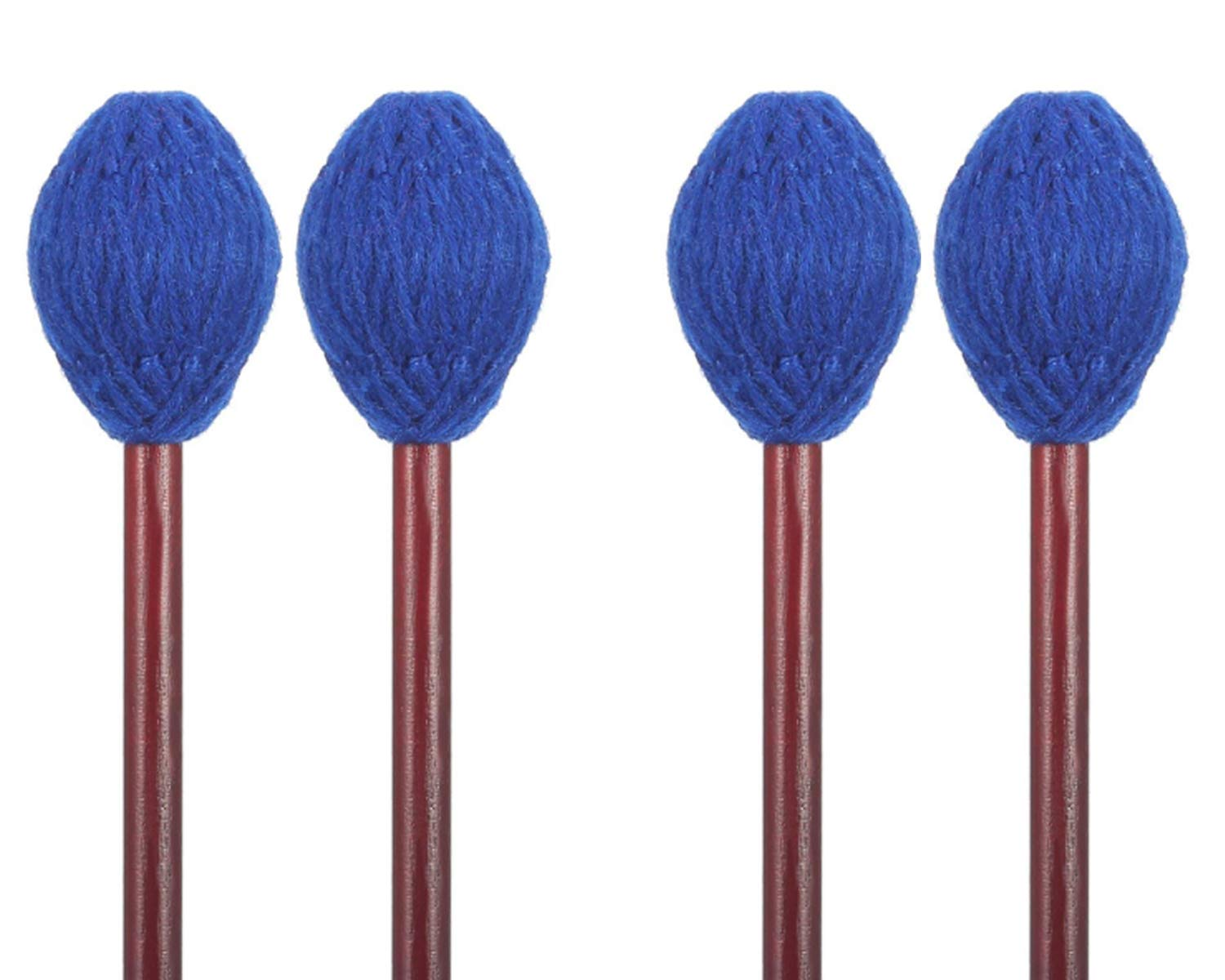 Buytra 2 Pairs Medium Hard Yarn Head Keyboard Marimba Mallets with Maple Handle, Blue by Buytra