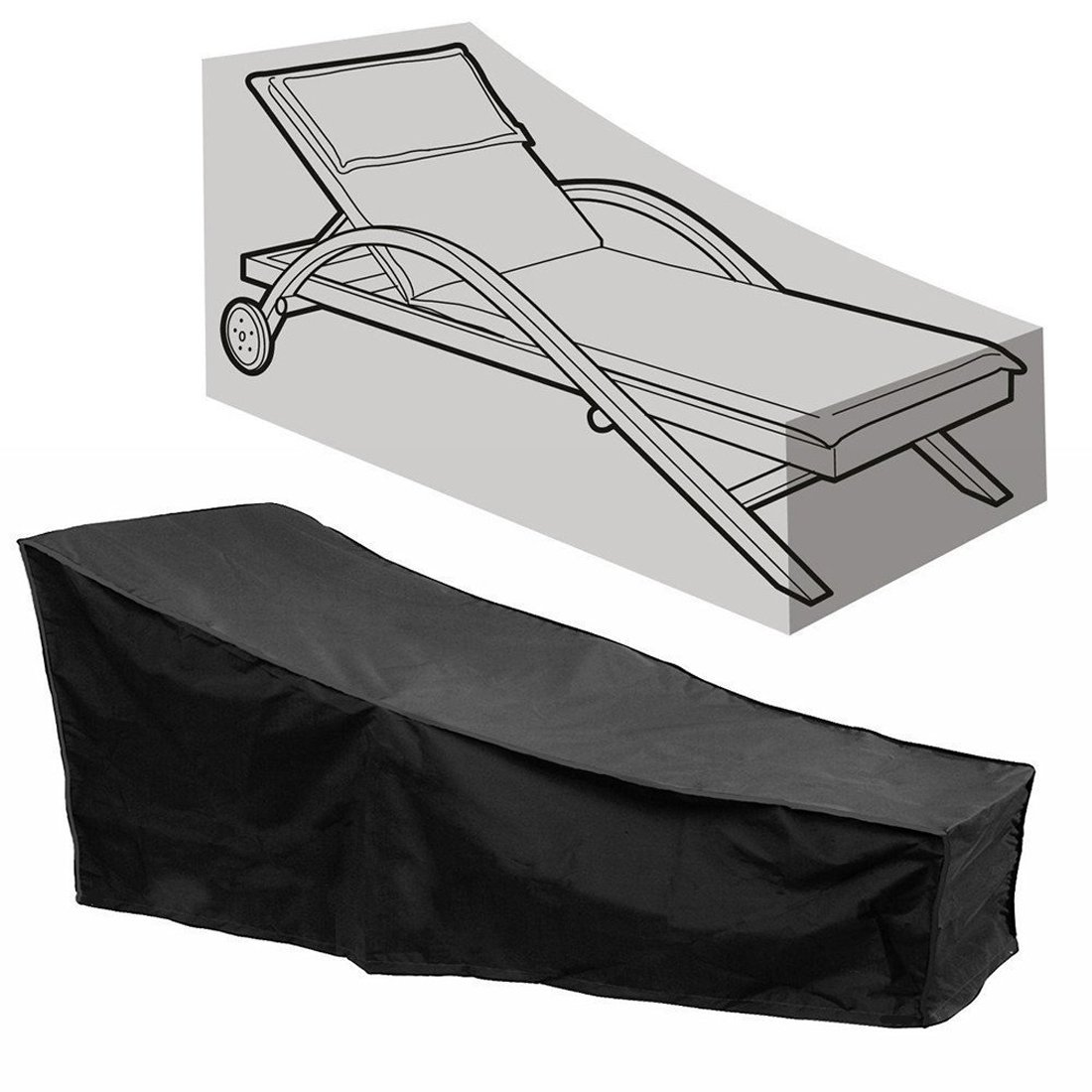 Comfysail Sun Lounger Cover Waterproof Sunbed Cover Outdoor Garden Patio Furniture with a Storage Bag,Black,2087641/79cm