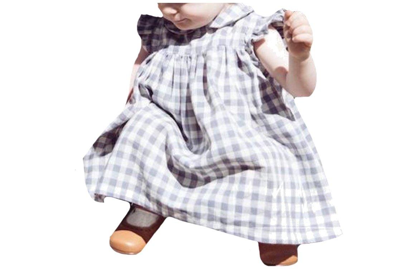 Comfy Big Girls Sleeveless Short Plaid Peter Pan Collar Skirt Dresses Grey 80
