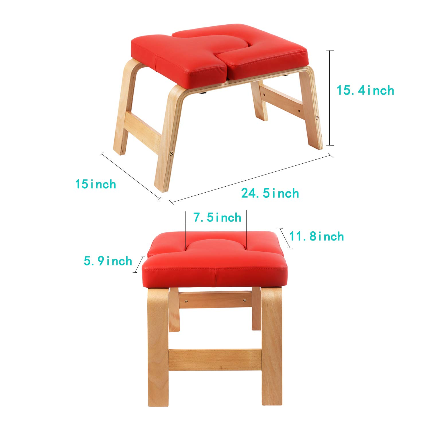 Desire Life Yoga Headstand Bench - Stand Yoga Chair for Family, Gym - Wood and PU Pads - Relieve Fatigue and Build Up Body (Red) by Desire Life (Image #3)