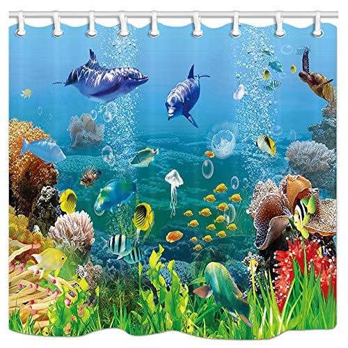 DYNH Fantasy Underwater Shower Curtain, Cartoon Marine Animals with Corals Dolphin Sea Turtle and Tropical Fishes in Mystic Sea World Fabric Bath Curtains for Bathroom, 69X70 in Drapes with Hooks