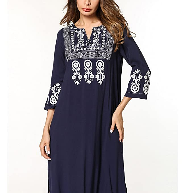 Zhhlaixing Léger Rétro Bleu Manches 3 4 Islamique Vêtements Abaya Robe  Caftan Dressing Robes pour 0206ab626f0