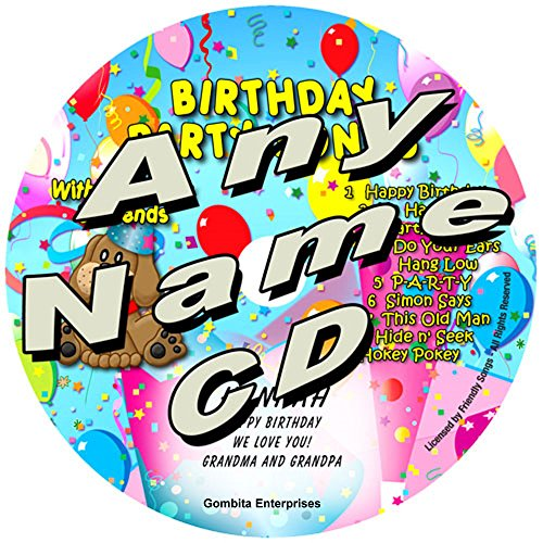 """Gombita Enterprises Name Personalized Music CD - (Any Name) - Friendly Songs Birthday Party Songs - Music CD and """"New"""" Digital Content is HERE! - - Customize When Ordering (Any Name CD) ()"""