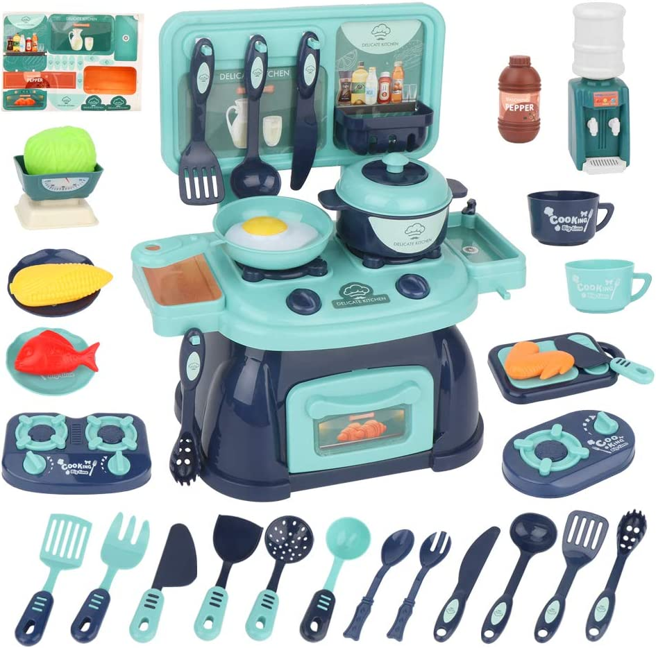 BananMelonBM Kitchen Playset with Play Food and Cooking Accesories Toys Kitchen Sets DIY for Boys Girls Birthday Gift for Kids