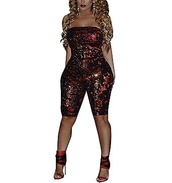 140f39e904 Amazon.com  Women Sparkly Sequins Jumpsuit