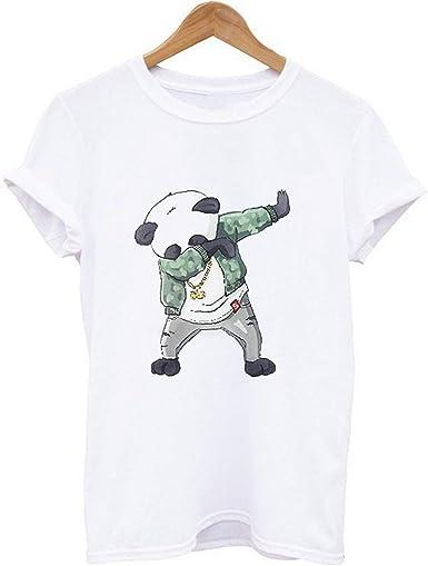 Jogging Shirt Camiseta de Manga Corta con Estampado de Calavera para Hombre,Camiseta de Manga Corta con Estampado de Panda color1 XXL: Amazon.es: Ropa y accesorios
