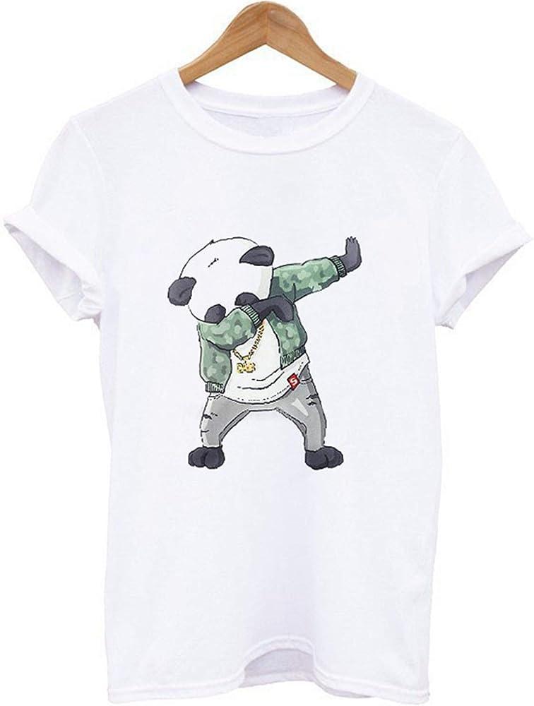 Camiseta con Estampado de Panda de Manga Corta color1 XS,Hombres ...