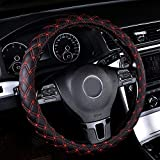 Rayauto 15inch Odorless Quilted Stitching Pattern Leather Car Steering Wheel Cover-black with red