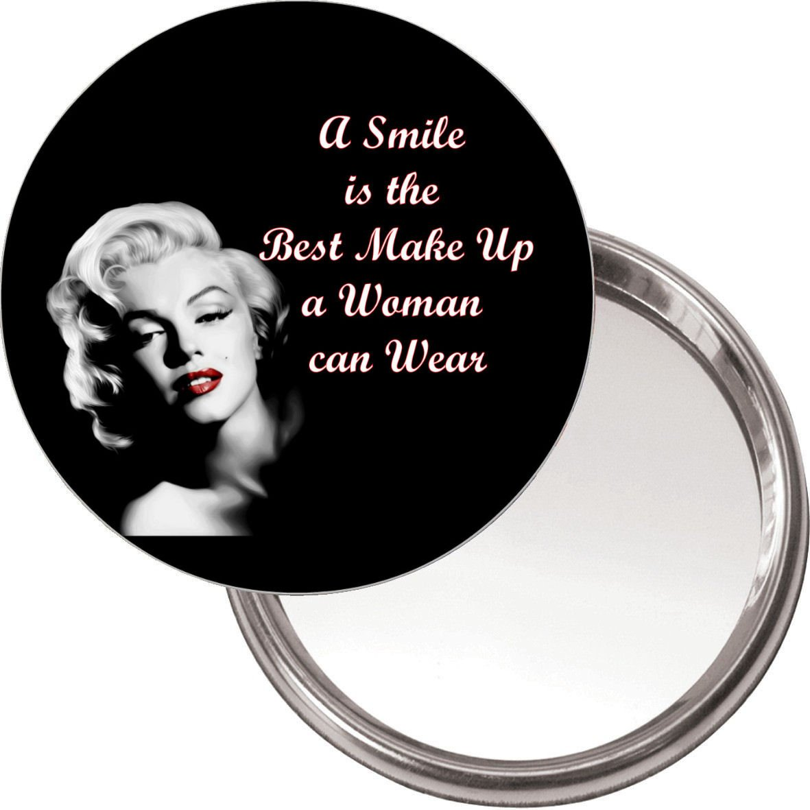 Unique Makeup Button Mirror with Marilyn Monroe image A smile is the best make up a woman can wear delivered in a black organza bag. Yummy Grandmummy