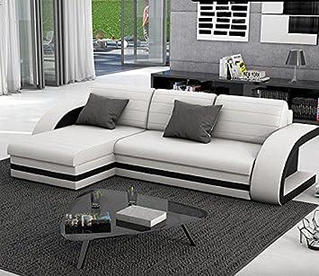 muebles bonitos sof cama hilda con chaise longue universal blanco con negro