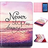 Polaroid 7' Tablet Case,[Never Stop Dreaming] Universal Magnetic Wallet PU Leather Stand Case Cover with Built In Card Slots for Polaroid P700BK Quad-Core 7 Inch