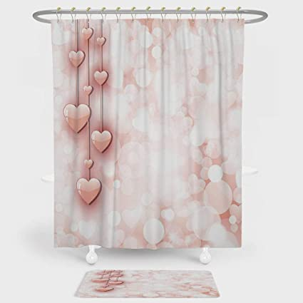 Light Pink Shower Curtain And Floor Mat Combination Set Valentines Day Themed Composition With Cute Vivid