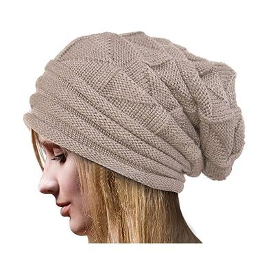 Longra Femmes Crochet Chapeau Laine Bonnet Tricot Hiver Automne Chaude  Chapeaux Mode La Laine Tricoter Bonnet Chaud Casquettes Casual Loose Ski  Beanie ... 318df6f918c