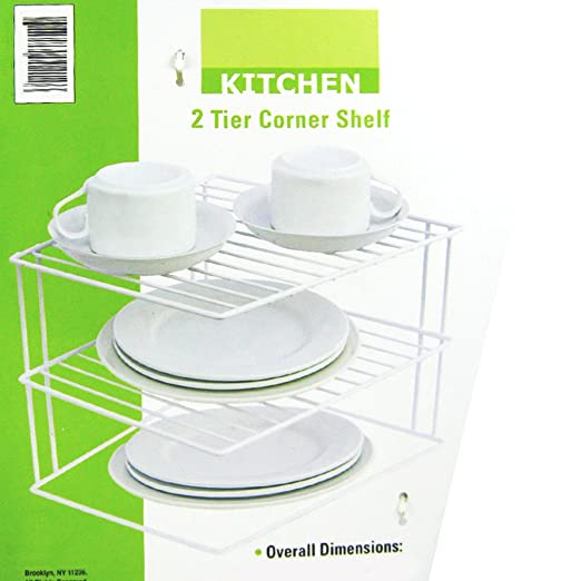 Amazon.com   2 Tier Corner Shelf Counter Cabinet Organizer Kitchen Storage  Rack Dishes