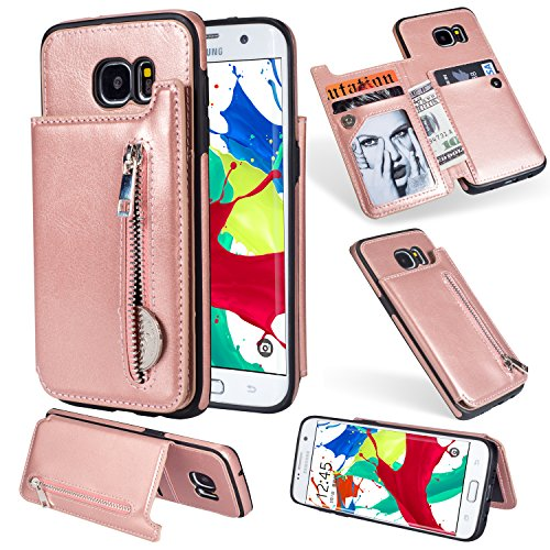 (Ostop Wallet Case for Samsung Galaxy S7,Rose Gold PU Leather Stand Case, Credit Card Holder Zipper Purse Slim Fit Magnetic Clasp Flip Folio Cover with Cash Pocket Soft TPU Bumper)