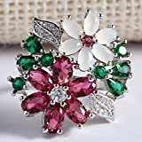 Chic Women 925 Silver Ruby Emerald Flower Ring Wedding Engagement Jewelry Sz6-10 (9)