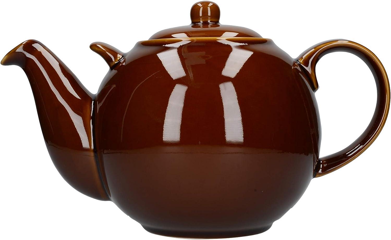 f/ür 10 Tassen Dexam London Pottery Teekanne rund Rockingham braun