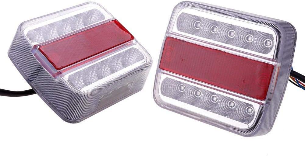 Teabelle Kit de Luces de Cola Trasera de 2 Piezas de Remolque Sumergible LED Impermeable Marcador de Barco Camión