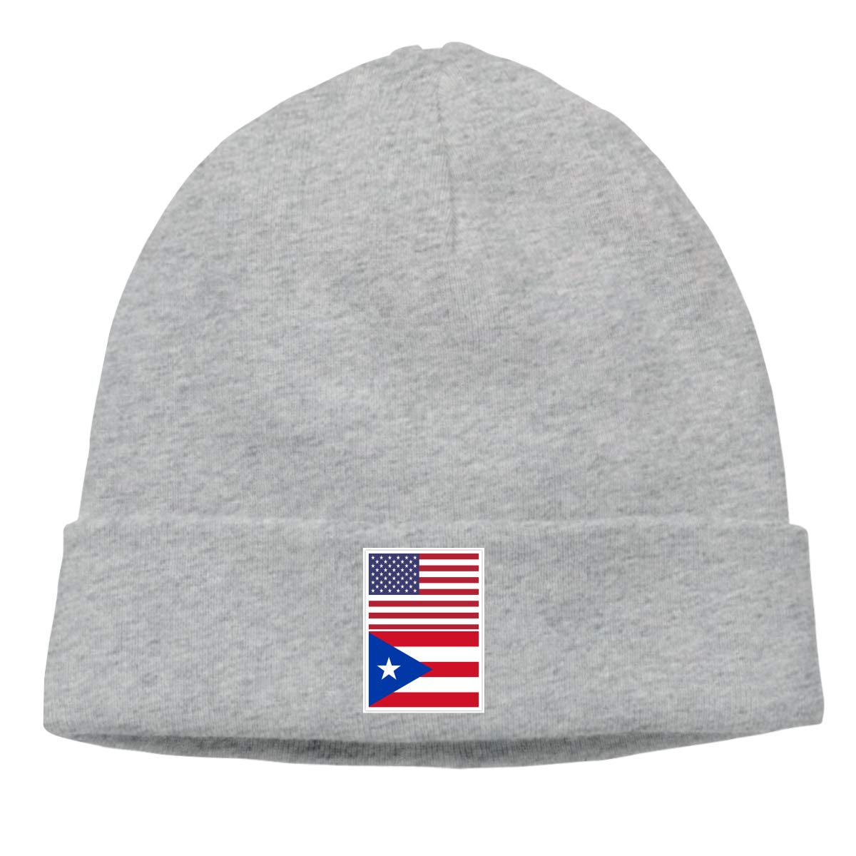 Men Women American Flag and Puerto Rico Flag Soft Beanie Hat