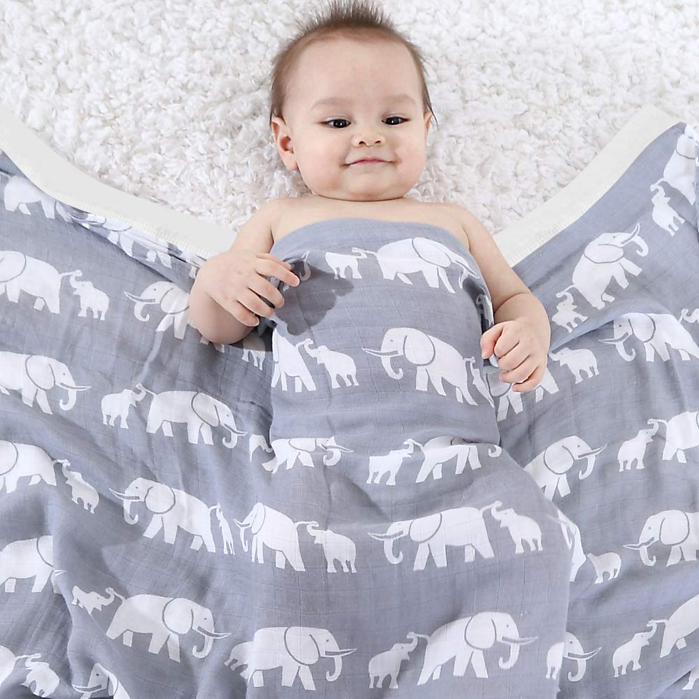 45x45 Bamboo Cotton Toddler Blanket for Boys /& Girls Bear Print LifeTree Soft Baby Blankets 2 Layer Muslin Cloth