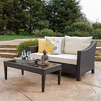 Antibes Outdoor 2 Piece Wicker Sofa Set With Cushions Weather Resistant  (Brown With Beige