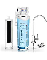 Frizzlife Under Sink Water Filter-Quick Change Under Counter Drinking Water Filtration System-0.5 Micron High Precise Removes 99.99% Lead, Chlorine, Bad Taste & Odor-With Dedicated Faucet.